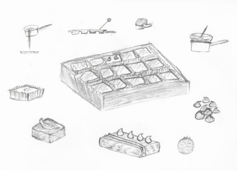 In the center is a box of square chocolates, surrounded by drawings of saucepans with bowls of melting chocolate on top, chocolate chips, round truffles, a chocolate bar, a square chocolate topped with a garnish, and a square chocolate in a paper wrapper.