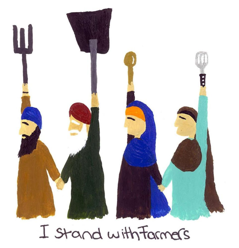 Four people raise their fists, clutching farm and kitchen tools, in support of Indian farmers.