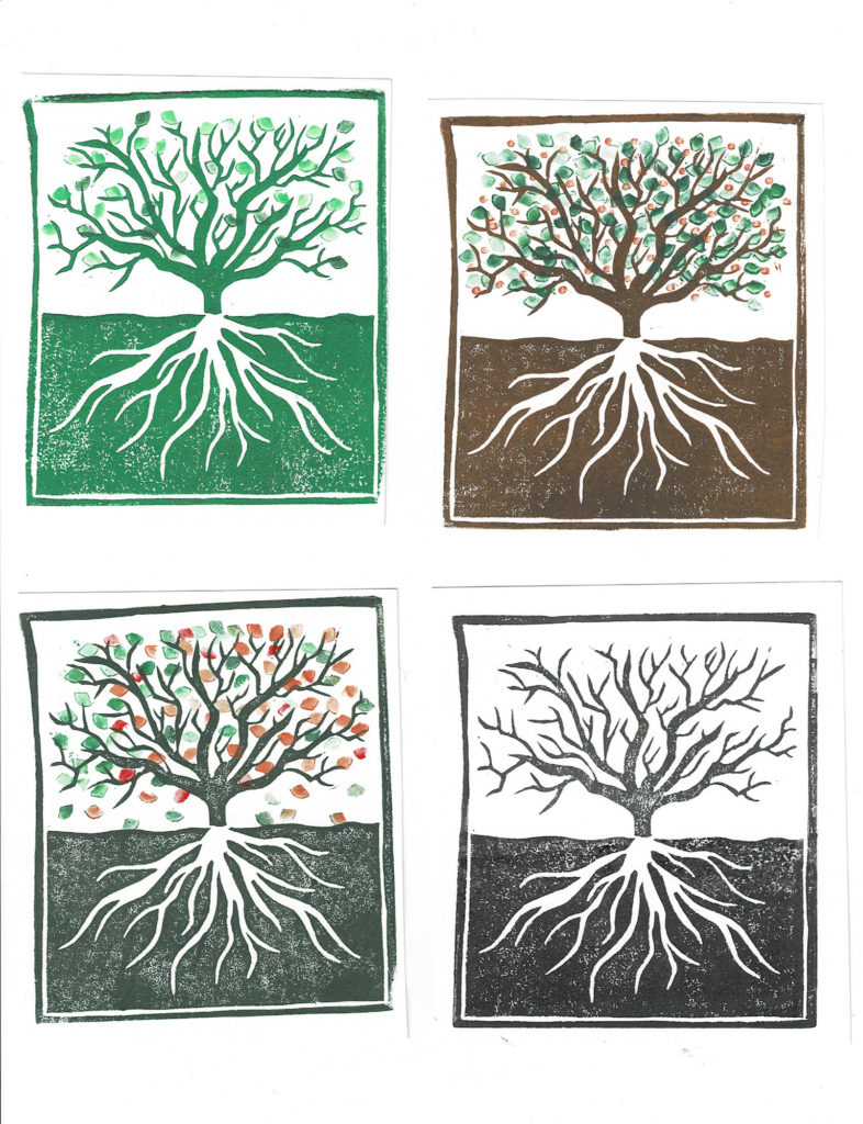 Four prints of a tree and roots. Top left is a green tree with small green leaves, top right is a brown tree with green leaves and orange fruits, bottom left is a dark green tree with green, orange and red leaves falling, bottoms right is a grey tree without leaves.