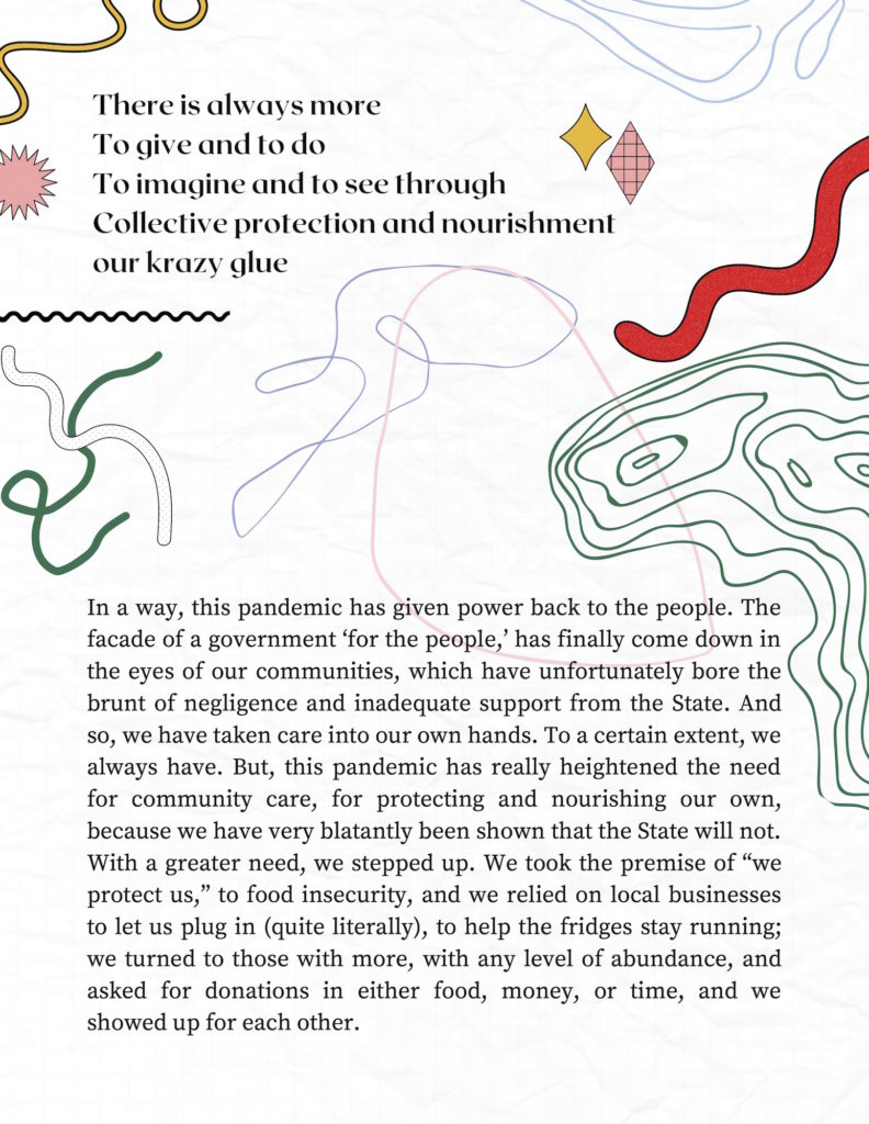 Second page of Community Fridges on Every Corner. white background with squiggles in red, pink, green, blue.