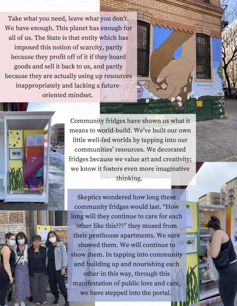 """Third page contains photographs of Word Up Community Bookstore Community Fridge in Washington Heights, Manhattan, along with translucent pink, white, and blue text boxes."""""""