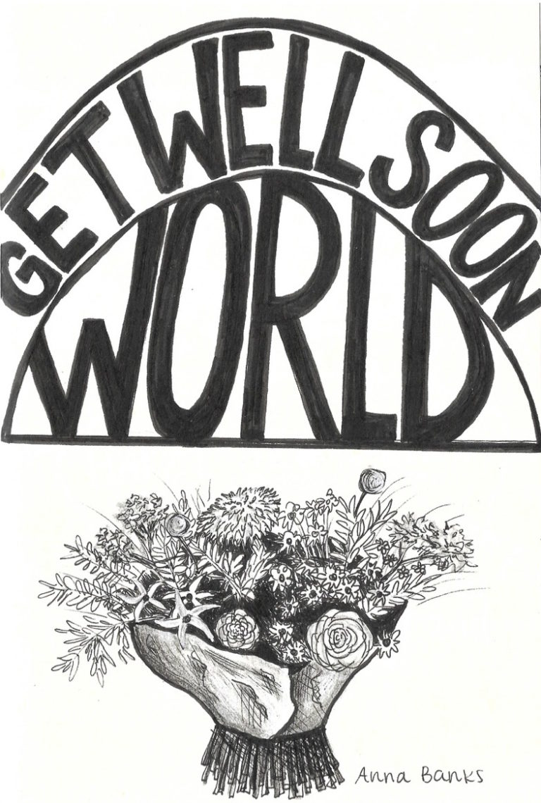 cover of Get Well Soon World by Anna Banks. A bouquet of flowers wrapped in paper are shown beneath the title.
