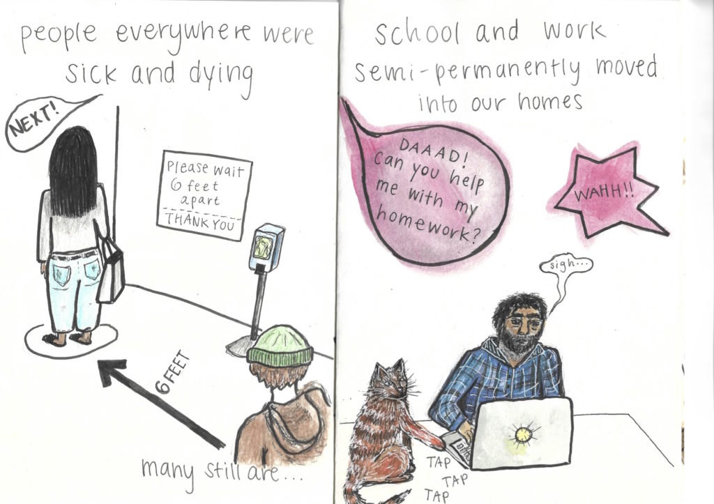 People everywhere were sick and dying. Many still are.... School and work semi-permanently moved into our homes.