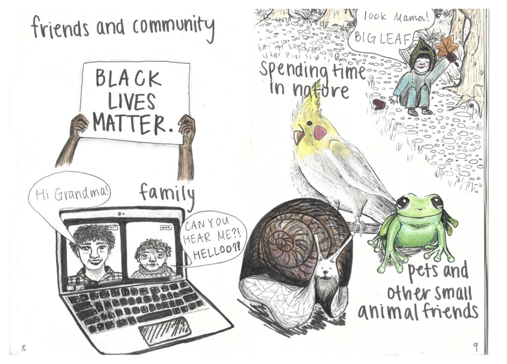 Friends and community, family, spending time in nature, pets and other small animal friends.