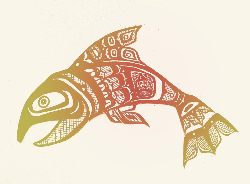illustration of a salmon decorated with indigenous motifs. the center is red, and fades to a golden yellow on the head and tail