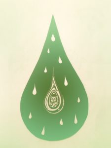 a drop of water holds more drops of water within, and a tiny seed with a face in the center