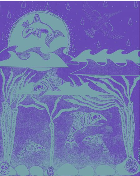 A purple background with teal salmon swimming among the kelp beneath the waves. Above the waterline, a bird flies away, and a whale arches against a teal sun.
